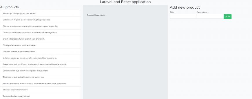laravel and react application